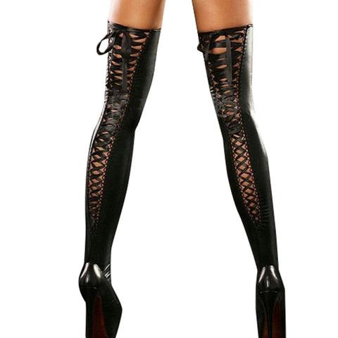 Leather Lace Up Thigh Highs - 5inchesorbettershoes