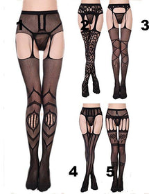 Designed Crotchless Stockings - 5inchesorbettershoes