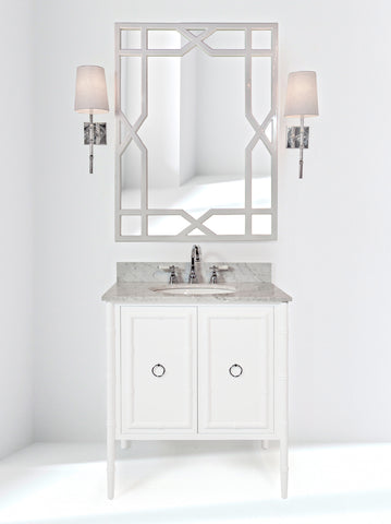 worlds away bath vanity white lacquer and marble