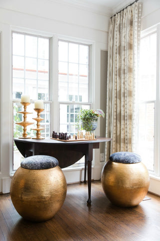 worlds way tabouret hammered brass stool with velvet cushion