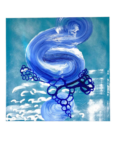 """Blue Wave"" Oil on Canvas Painting - Matthew Izzo Home"