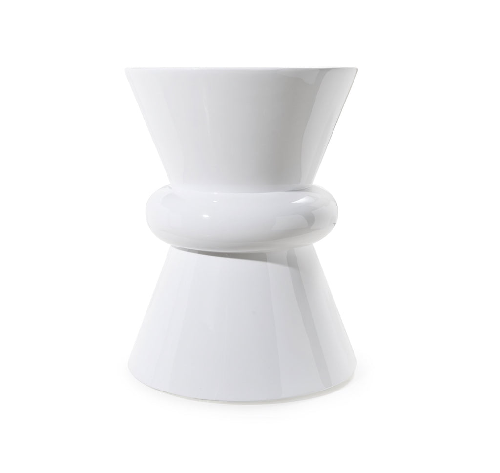 Worlds Away Noble Low White Side Table