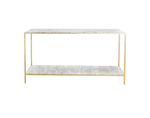 Worlds Away Agnes Marble Gold Leaf Console Table - Matthew Izzo Home