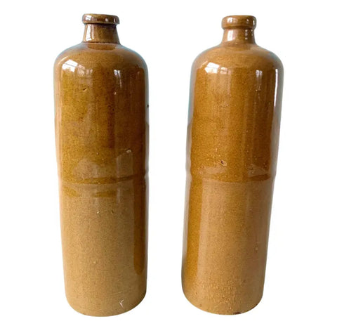 Antique Stoneware Beer Jugs - Set of 2