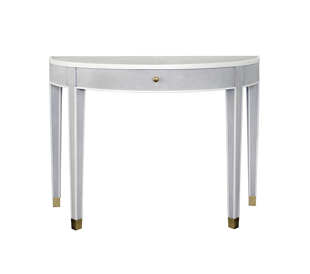 Worlds Away Maddock Grey Shagreen Demilune Table - Matthew Izzo Home