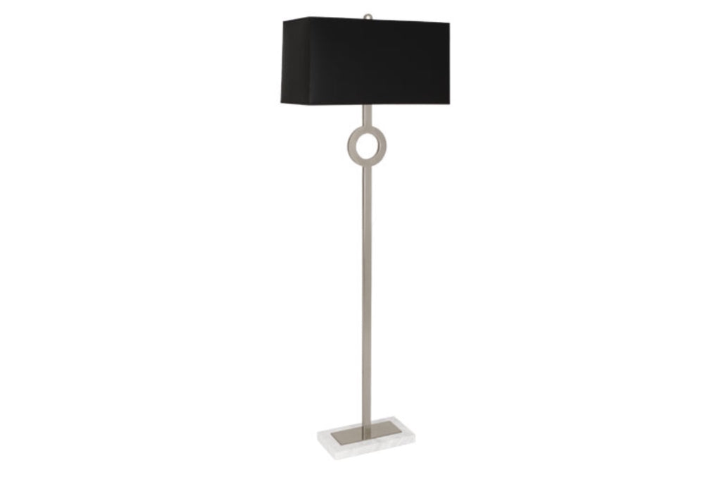 Robert Abbey Oculus Nickel/Black Marble Floor Lamp - Matthew Izzo Home