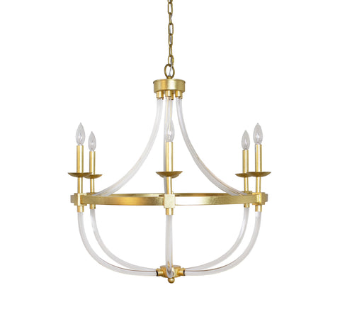 Worlds Away Layla Gold Leaf Chandelier