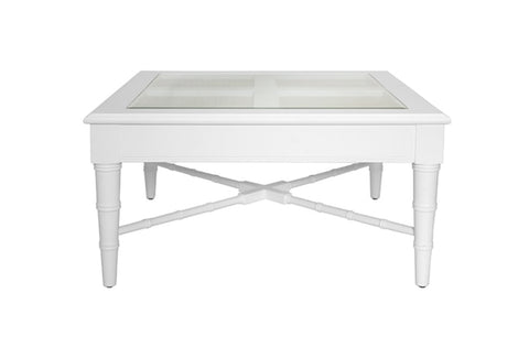 Worlds Away Noreen Square White Coffee Table