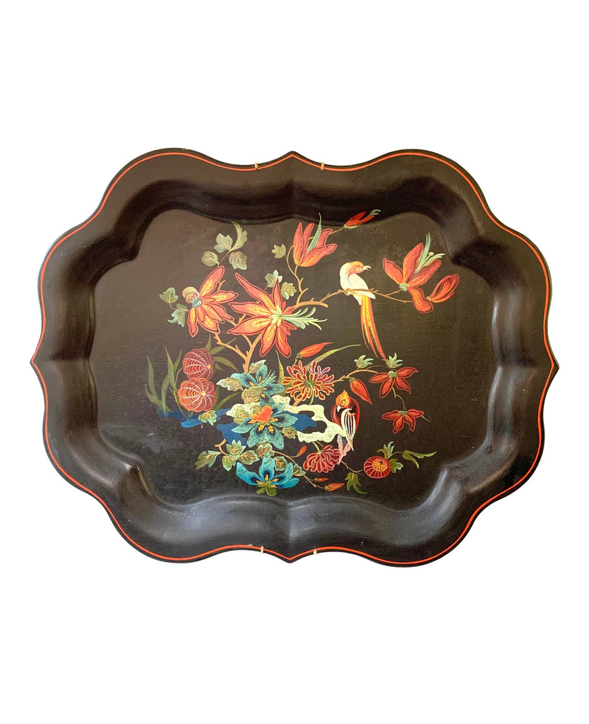 Gorgeous Large 19th Century Black Floral Metal Tray - Matthew Izzo Home