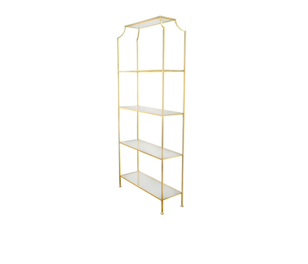 Worlds Away Chloe Gold Leaf Etagere - Matthew Izzo Home