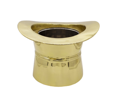 Worlds Away Top Hat Brass Ice Bucket