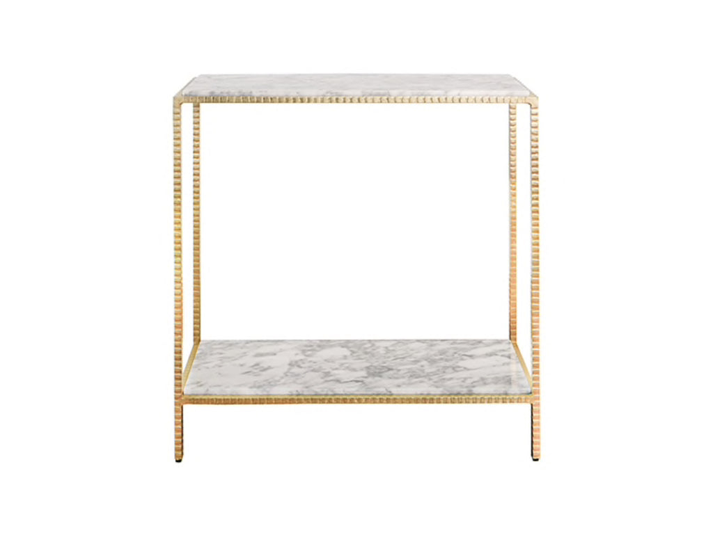 Worlds Away Seton Small Gold Leaf Console Table - Matthew Izzo Home