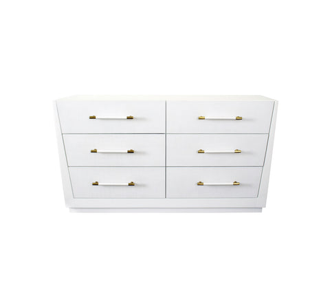 Worlds Away Madden White Lacquer Dresser - Matthew Izzo Home