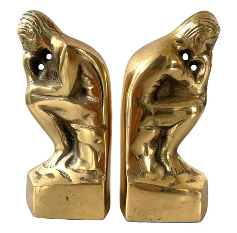 "MCM Brass Bookends, ""The Thinker"" - Set of 2 - Matthew Izzo Home"
