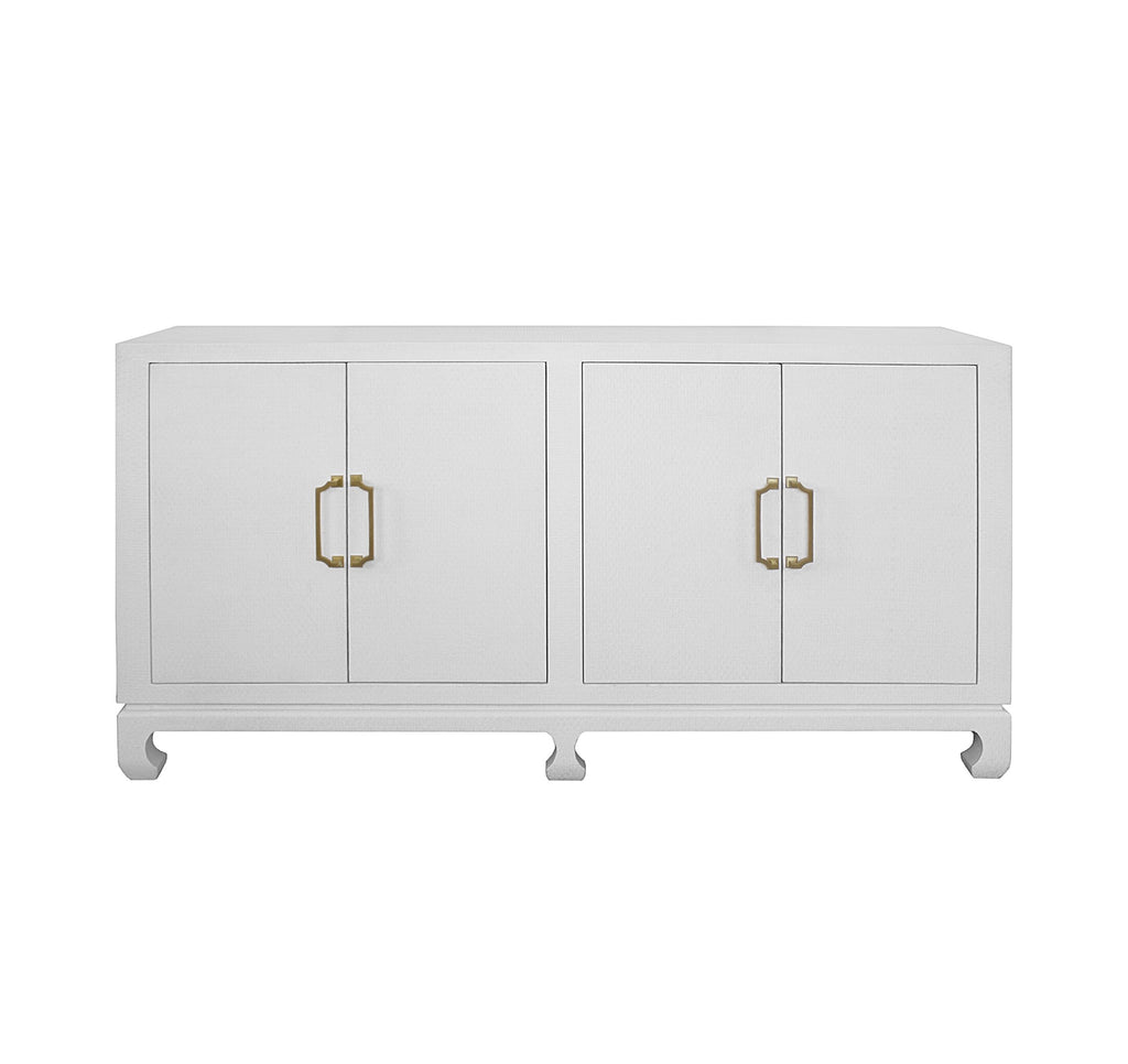 Worlds Away Drayton White Four Door Chest - Matthew Izzo Home