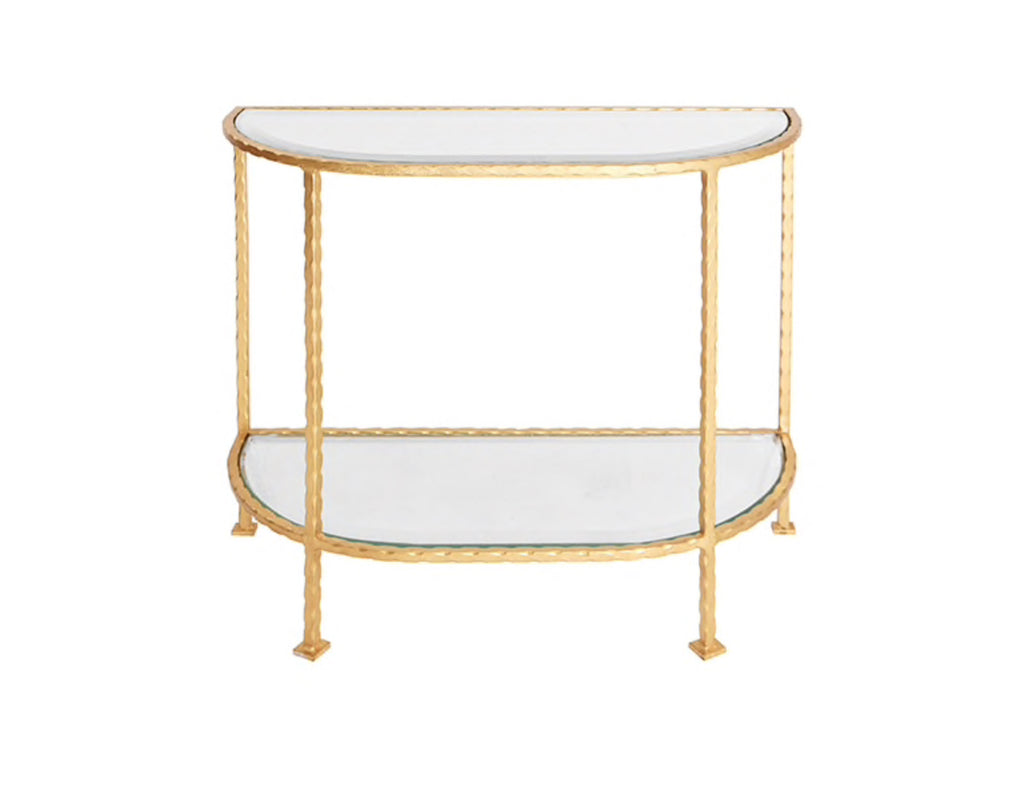 Worlds Away Louie Gold Leaf Iron Side Table