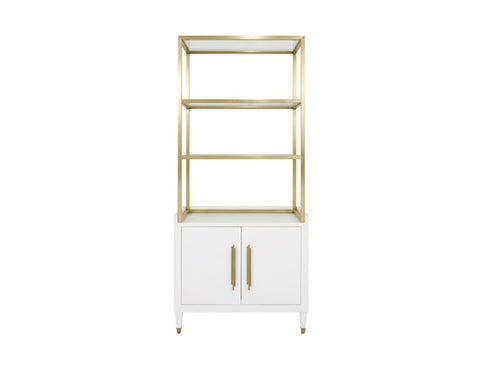 Worlds Away Rivaa White Etagere - Matthew Izzo Home