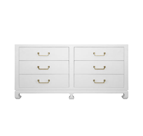 Worlds Away Murray White Six Drawer Dresser