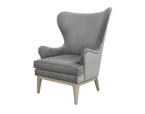 Worlds Away Frisco Wing Grey Velvet Lounge Chair - Matthew Izzo Home