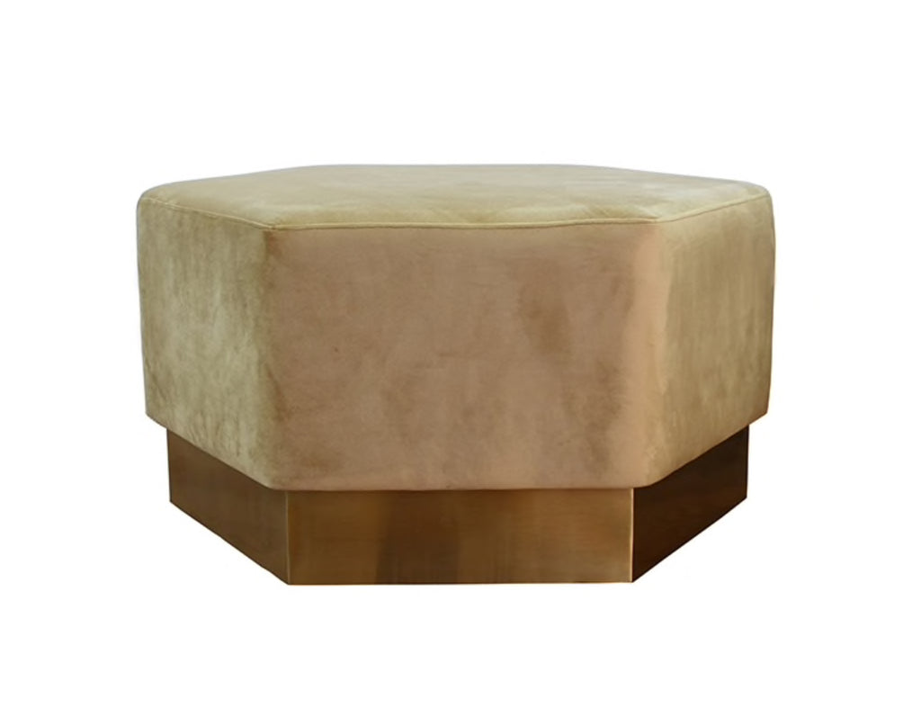 Worlds Away Myra Brass Base Ottoman - Matthew Izzo Home