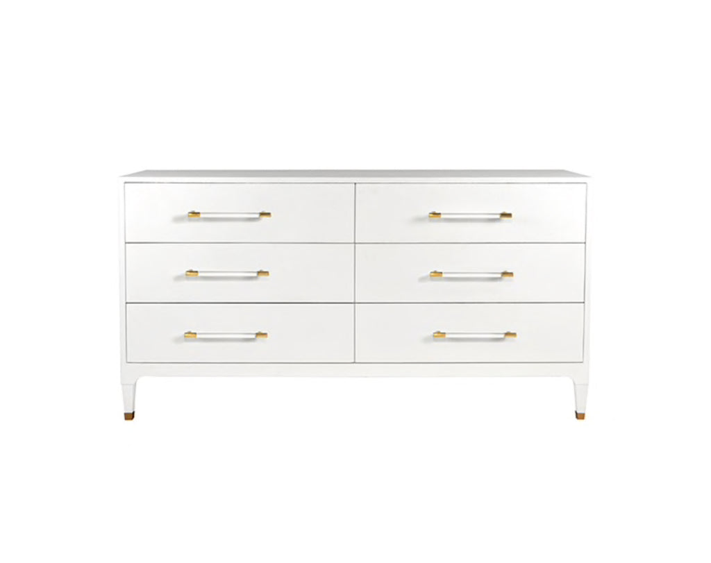 Worlds Away Maren White Six Drawer Dresser