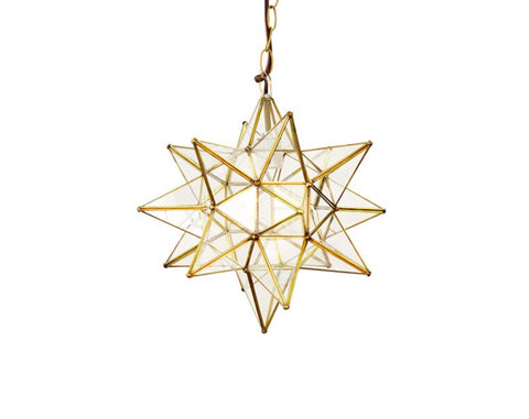 Worlds Away Brass Medium Star Pendant - Matthew Izzo Home