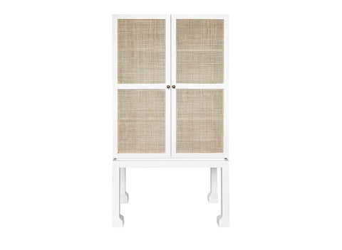 Worlds Away Guthrie Rustic White Bar Cabinet