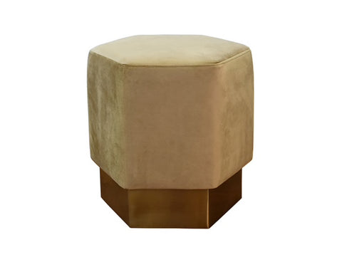 Worlds Away Asher Hexagonal Brass Base Stool - Matthew Izzo Home