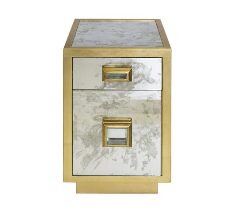 Worlds Away Cisco Gold Leaf Side Table - Matthew Izzo Home