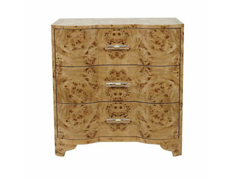 Worlds Away Calvin Burl Wood Side Table