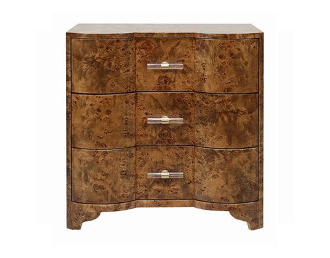 Worlds Away Calvin Dark Burl Wood Side Table