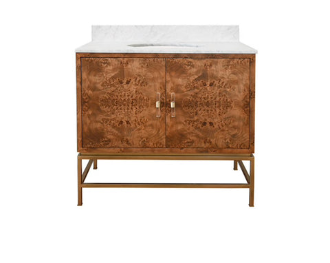 Worlds Away Clifford Dark Burl Wood Bath Vanity - Matthew Izzo Home