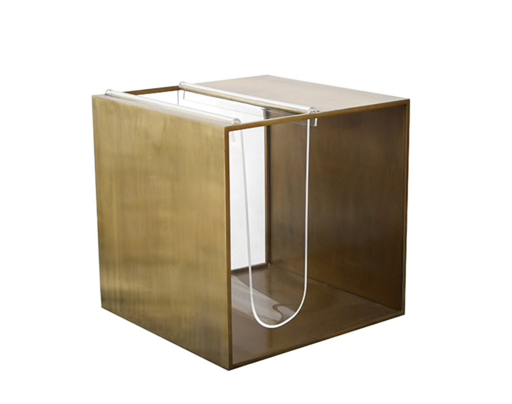 Worlds Away Bernie Brass Side Table