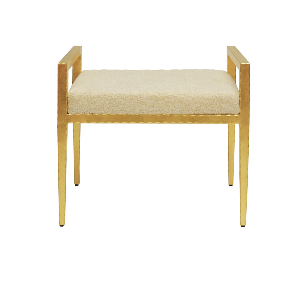 Worlds Away Emily Gold Leaf Sherpa Stool