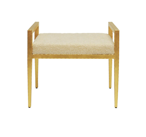 Worlds Away Emily Gold Leaf Sherpa Stool - Matthew Izzo Home