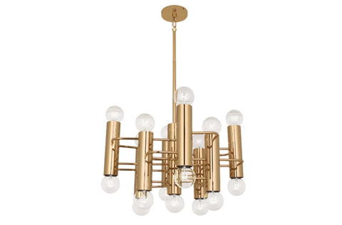 Jonathan Adler Milano Square Polished Brass Pendant - Matthew Izzo Home