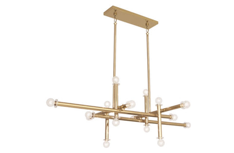 Jonathan Adler Milano Polished Brass Linear Chandelier - Matthew Izzo Home