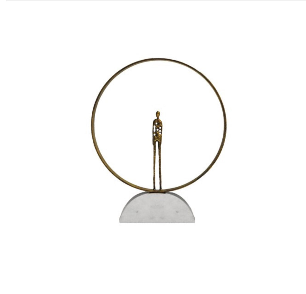 Worlds Away Aspen Metal and Marble Ring Sculpture - Matthew Izzo Home
