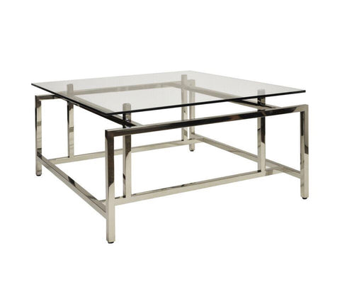 Worlds Away Nigel Square Glass Coffee Table - Matthew Izzo Home