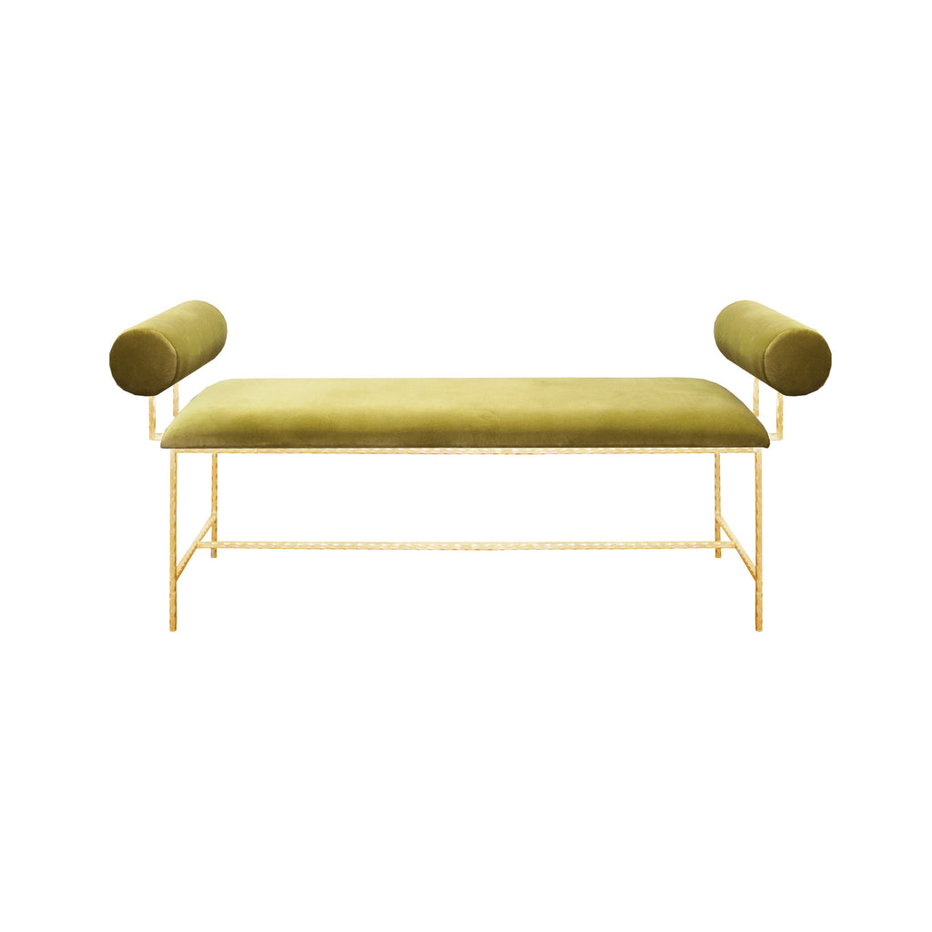 Worlds Away Miller Bench In gold leaf or silver leaf appointment in lime green, navy or white velvet. - Matthew Izzo Home