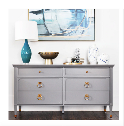 Worlds Away Vincent Grey Lacquer/Brass Dresser - Matthew Izzo Home