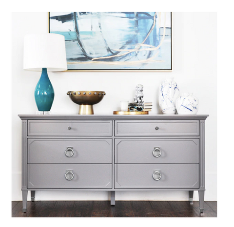 Worlds Away Vincent Grey Lacquer/Nickel Dresser - Matthew Izzo Home
