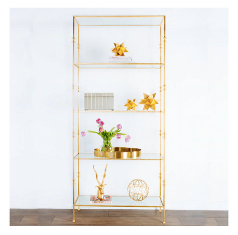 Worlds Away Stewart Glass and Metal Etagere - Matthew Izzo Home