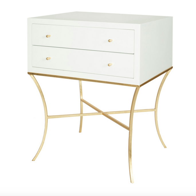 Worlds Away Elena Two Drawer Side Table - Matthew Izzo Home
