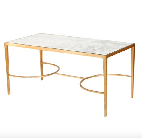 Worlds Away Sabre Gold Leafed Leg Coffee Table - Matthew Izzo Home