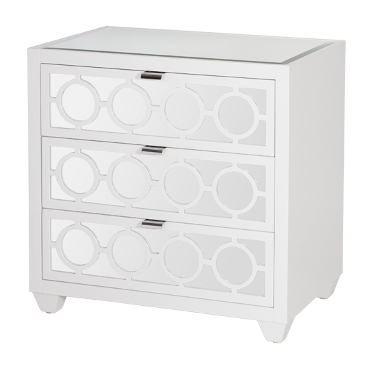 Worlds Away Ava White Mirrored Nightstand - Matthew Izzo Home