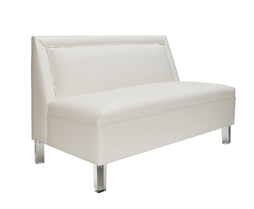 Worlds Away Alma White Armless Settee - Matthew Izzo Home