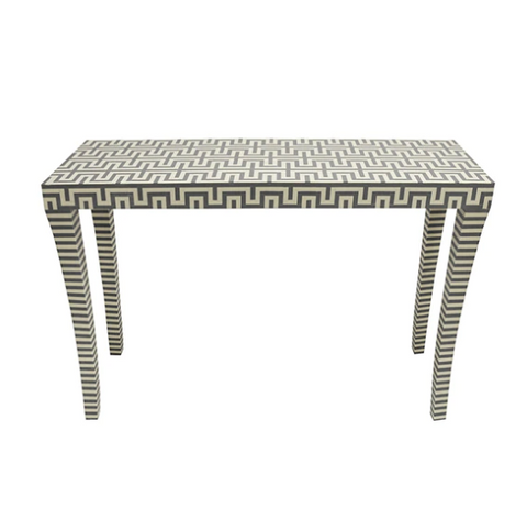 Worlds Away Andes Grey and White Resin Console Table - Matthew Izzo Home
