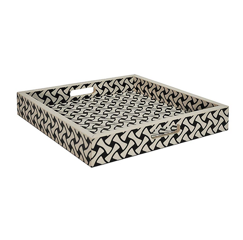 Worlds Away Black and White Weave Pattern Bodie Tray - Matthew Izzo Home