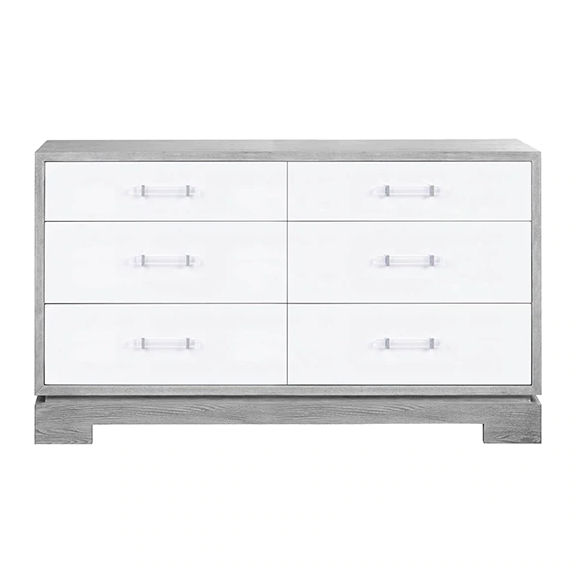 Worlds Away Grey Cerused Oak 6-Drawer Crawford Dresser - Matthew Izzo Home